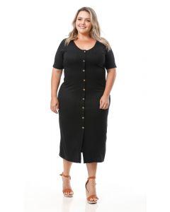 Vestido Feminino Plus Size Lecimar Botões - Preto