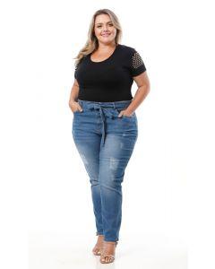 Calça Feminina Plus Size com Cinto  Vizzy Jeans - Azul