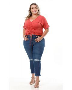 Calça Jeans Plus Size Feminina Skinny Destroyed - Azul