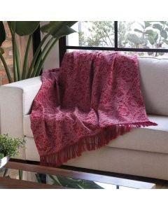 Manta para Sofá Jacquard Charme 2,10x 1,40 Floral - Vermelho