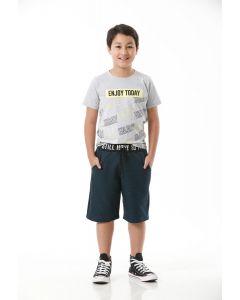 Camiseta Menino Lettering Sou+ Teen - Cinza