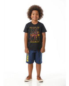 Camiseta Menino Manga Curta Homem de Ferro Kamylus - Preto