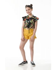 Short Menina Sarja Cordão - Amarelo