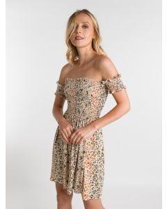 Vestido Curto Feminino Ciganinha em Lástex Floral
