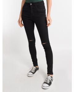 Calça Feminina Super Skinny com Rasgos - Preto