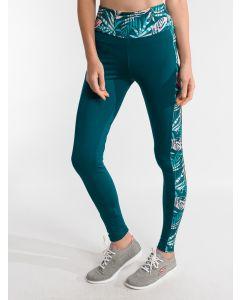 Calça Legging Feminina Esporte Estampa Lateral - Verde