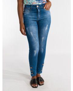 Calça Feminina  Jeans Skinny e Botões Laterais - Azul