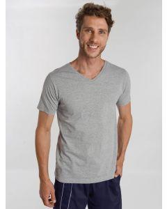 Camiseta Masculina Gola V - Cinza