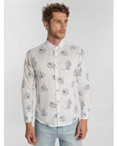 Camisa Masculina Slim Estampado - Branco