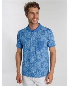 Polo Masculina Estampa Tropical - Azul