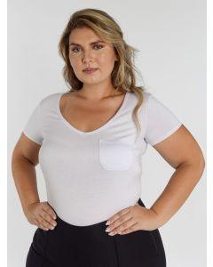 Blusa Feminina Malha com Bolso - Branco