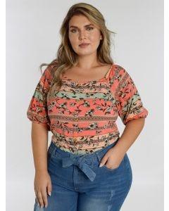 Blusa Feminina Plus Size  Lecimar Decote Ciganinha