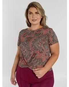 Blusa Feminina Estampa Paisley Plus Size - Rosa