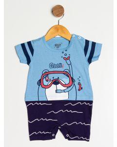 Macacão Bebê Menino Urso Nadador - Azul