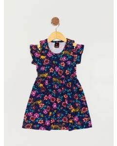 Vestido Infantil Folhagens - Azul