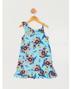 Vestido Infantil Menina Floral - Azul