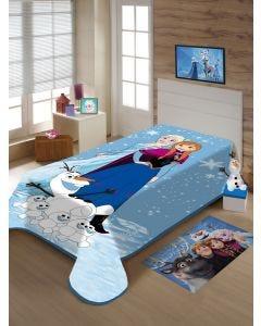 Cobertor Solteiro Infantil Raschel Frozen Jolitex - Azul