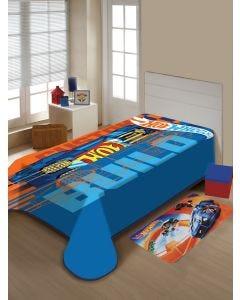Cobertor Solteiro Infantil Raschel Hot Wheels Jolitex - Azul