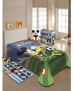 Cobertor Solteiro Infantil Raschel Mickey Futebol Jolitex - Azul/Verde