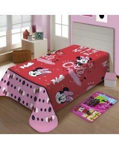 Manta Solteiro Soft Disney Minnie Jolitex - Vermelho