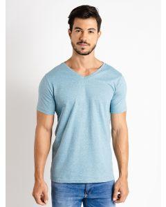 Camiseta Masculina Básica Gola V - Azul