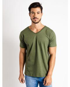 Camiseta Masculina Básica Gola V - Verde Militar