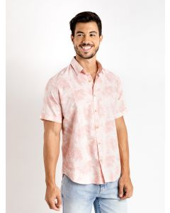 Camisa Masculina Manga Curta Folhas - Rosa
