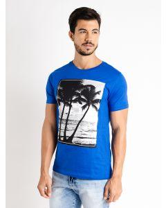 Camiseta Estampa Tropical Basic Soul For Man - Azul