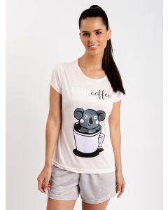 Pijama Feminino Koala - Rosa e Cinza