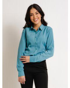Camisa Feminina Manga Longa Botões - Azul