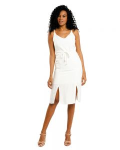 Vestido Mídi Cinto com Corda Lunender - Branco