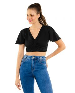 Top Cropped Ribana Manga com Babados Yellow - Preto