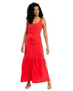 Vestido Longo Botões Cia Mineira - Vermelho