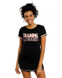 Camiseta Esporte Feminina Estampa em Lettering - Preto