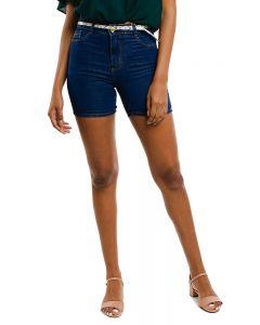 Short Jeans Feminino com Cinto Vizzy Jeans - Azul