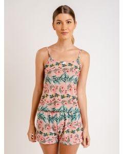 Pijama Feminino Short Doll Floral - Rosa