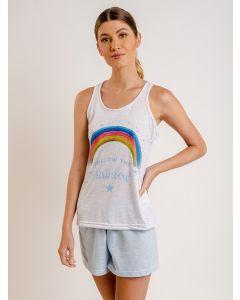 Pijama Feminino Short Doll Arco-íris - Cinza