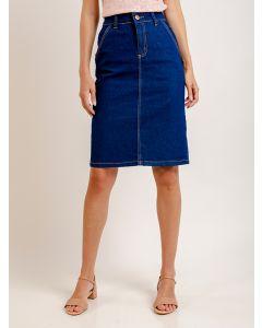 Saia Jeans Mídi com Bolso - Azul