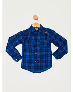 Camisa Infantil Menino Manga Longa Xadrez - Azul