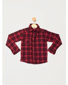 Camisa Infantil Menino Manga Longa Xadrez - Vermelho