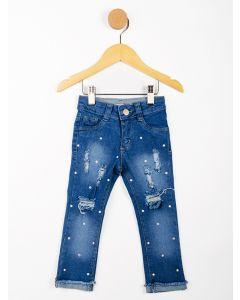 Calça Jeans Infantil Menina Aplicações - Azul