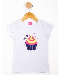 Blusa Infantil Menina Cupcake - Branco