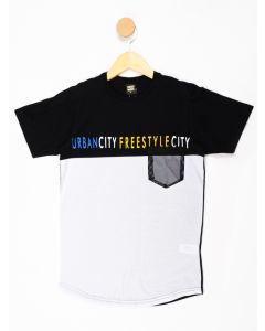 Camiseta Juvenil Menino Bolso - Preto