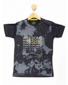 Camiseta Juvenil Menino Manga Curta Estampada - Cinza