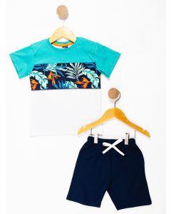 Conjunto Infantil Menino Recorte Floral - Azul Marinho