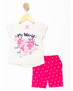 Conjunto Infantil Menina My World - Cinza e Rosa