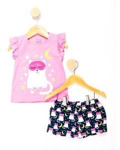 Pijama Infantil Menina Estampa Brilha no Escuro - Rosa e Azul