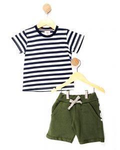 Conjunto Infantil Menino Listrado - Branco e Verde