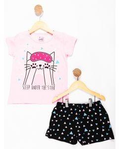 Pijama Infantil Menina Estampa Brilha no Escuro - Cinza e Rosa
