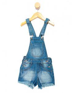 Jardineira Jeans Infantil Menina - Azul